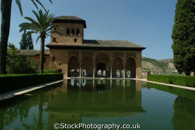 lake view portico del partal palacios nazaries alhambra granada andalucia spanish espana european travel spain spanien españa espagne la spagna europe