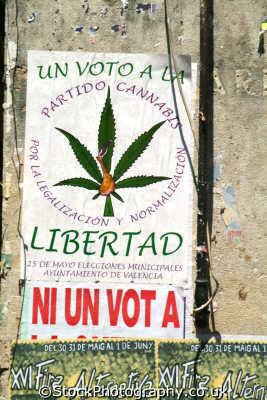legalise cannabis party poster valencia spanish espana european travel dope smoking marijuana drugs spain spanien españa espagne la spagna europe