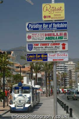 sightseeing train signs fuengirola costa del sol mediterranean andalucia spanish espana european travel spain spanien españa espagne la spagna europe
