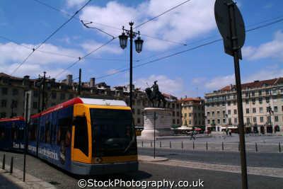 modern tram praca da figueira lisbon portuguese portugese european travel transport lisboa portugal europe