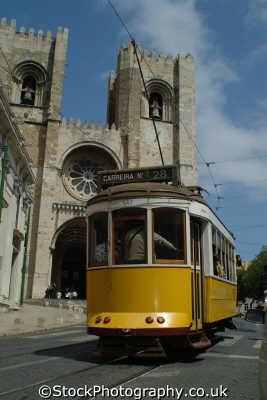tram outside se catedral lisbon portuguese portugese european travel transport lisboa portugal europe
