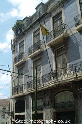 typical tiled frontage lisbon portuguese portugese european travel buildings lisboa portugal europe