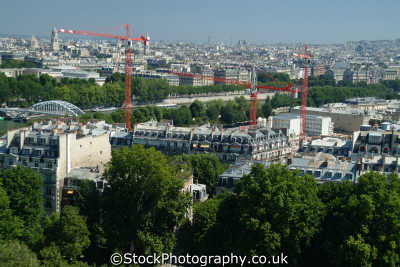 aerial paris passerelle bridge construction cranes french european travel parisienne france la francia frankreich europe