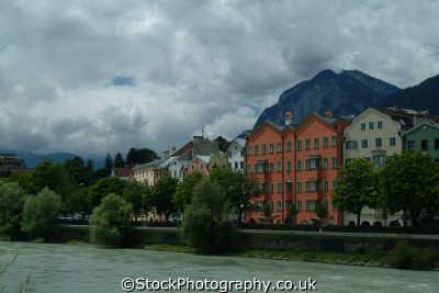 picturesque buidings river mountains innsbruck alps alpine austrian osterreich european travel austria österreich europe