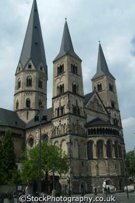 romanesque cathedral bonn north rhine westphalia german deutschland european travel rhineland valley germany europe germanic