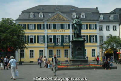 statue beethoven outside post office bonn north rhine westphalia german deutschland european travel rhineland valley germany europe germanic