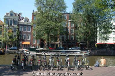 bikes canal amsterdam dutch netherlands european travel bicycles holland la hollande holanda olanda europe