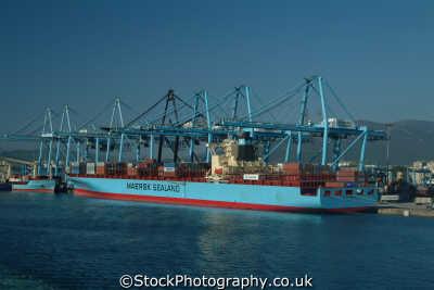 container ship docked algeceras marine misc. shipping spain spanien españa espagne la spagna europe european spanish