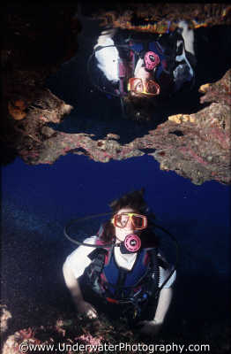 diver reflection air pocket caves caverns seascapes scenery scenic underwater marine diving reflect benny sutton cyprus europe european cypriot