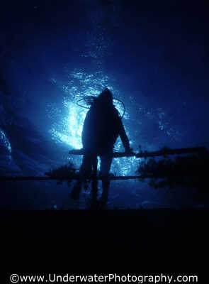 diver silhouetted wreck bridge wrecks seascapes scenery scenic underwater marine diving benny sutton cyprus europe european cypriot