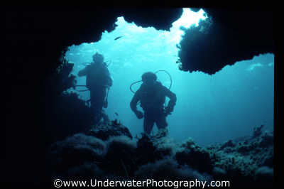 divers cave mouth looking caves caverns seascapes scenery scenic underwater marine diving cavern cavernous benny sutton cyprus europe european cypriot