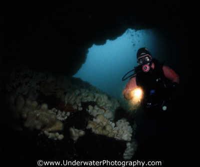 diver light entering cave caves caverns seascapes scenery scenic underwater marine diving benny sutton scottish borders scotland scotch scots escocia schottland united kingdom british
