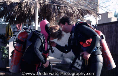 divers doing buddy checks equipment kit diving people scuba underwater marine tanks red sea egypt pharoh middle east egyptian