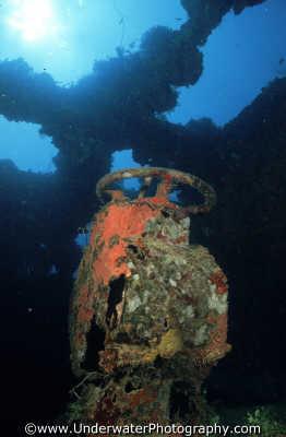 wheel inside wreck wrecks seascapes scenery scenic underwater marine diving truk lagoon shipwrecks pacific oceanic sea oceans micronesia micronesian