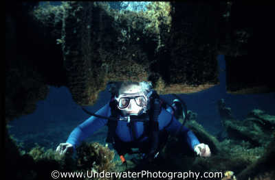 diver peering wreckage engine camshaft wrecks seascapes scenery scenic underwater marine diving cyprus europe european cypriot