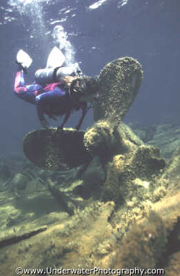 diver looking propellor wrecks seascapes scenery scenic underwater marine diving cyprus europe european cypriot