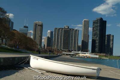 boat chicago skyline illinois american yankee travel usa united states america