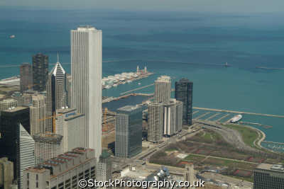 view aon building grant park navy pier lake michigan chicago illinois american yankee travel urban sprawl aerial skyscrapers usa united states america