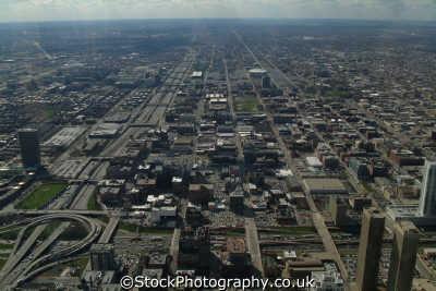 view near east greektown eisenhower expressway chicago illinois american yankee travel urban sprawl aerial usa united states america