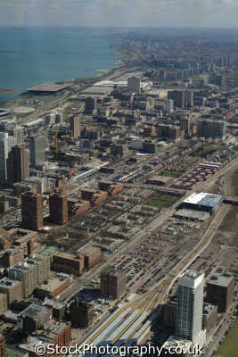 view south chicago illinois american yankee travel urban sprawl aerial usa united states america