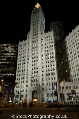 wrigley building chicago illinois american yankee travel chewing gum corporate usa united states america
