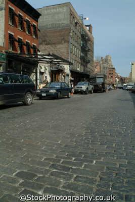 greenwich village cobbled street new york american yankee travel big apple usa united states america
