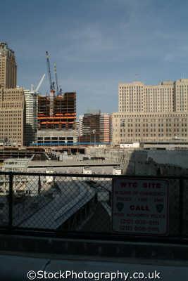 ground zero world trade center site showing construction new york american yankee travel bin laden terrorism terrorists war attack big apple usa united states america