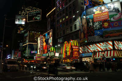 times square macdonalds new york american yankee travel lights commercialism big apple usa united states america