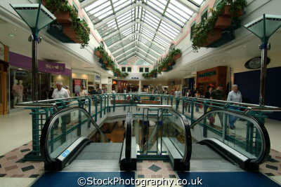 watford harlequin shopping centre escalators uk centres retailers trade centers commercial buildings british architecture architectural hertfordshire herts england english angleterre inghilterra inglaterra united kingdom