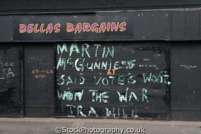 grafitti martin mcguiness says votes won win war ira irish political murals arts misc. county londonderry doire northern ireland ulster irland irlanda united kingdom british