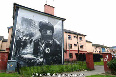 boy gas mask petrol bomb mural irish political murals arts misc. republican ira peace civil rights troubles catholic county londonderry doire northern ireland ulster irland irlanda united kingdom british