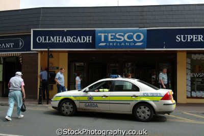 garda car outside tesco killarney police cops uk emergency services kerry ciarraí republic ireland eire irish irland irlanda europe european