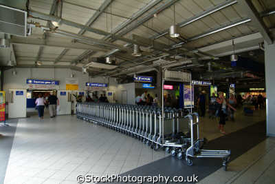luton airport trolleys departure gate uk airports aviation airfield aircraft transport transportation bedfordshire beds england english angleterre inghilterra inglaterra united kingdom british
