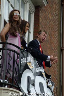 tony blair posh spice victoria beckham lookalikes balcony celebrity impersonator celebrities fame famous star people persons impersonators impressionists costumes united kingdom british