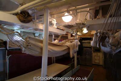 hammocks naval ratings destroyer hms cavalier chatham dockyard warships royal navy navies uk military militaries sleeping quarters medway kent england english angleterre inghilterra inglaterra united kingdom british