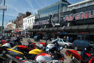 southend motocycles parked outside electric avenue seafront uk coastline coastal environmental rockers greasers essex england english angleterre inghilterra inglaterra united kingdom british