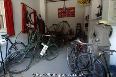 victorian bicycle shop penny farthing bicycles cycling cyclists bikes transport transportation uk shropshire england english angleterre inghilterra inglaterra united kingdom british