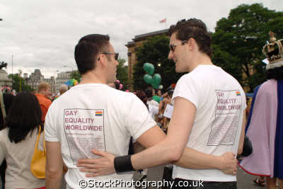 gay men hugging equality worldwide t-shirts t shirts tshirts homosexuals queers poofs adult males masculine manlike manly manful virile mannish people persons westminster london cockney england english angleterre inghilterra inglaterra united kingdom british