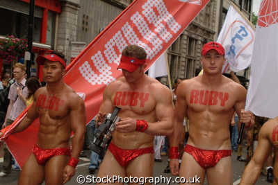 gay hunks ruby stencilled chests homosexuals queers poofs men adult males masculine manlike manly manful virile mannish people persons westminster london cockney england english angleterre inghilterra inglaterra united kingdom british
