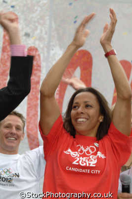 dame kelly holmes celebrating news successful london 2012 bid british athletes athletics sport sporting celebrities celebrity fame famous star people persons female women olympian olympic gold medallist runner jubil... westminster cockney england english angleterre inghilterra inglaterra united kingdom