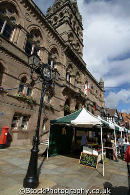 chester market stalls outside town hall uk halls government buildings british architecture architectural cestrian cheshire england english angleterre inghilterra inglaterra united kingdom