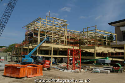 durham builing site luxury apartments. initial steel work stage uk industrial buildings british architecture architectural girders england english angleterre inghilterra inglaterra united kingdom