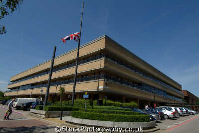 milton keynes council offices flag half mast uk government buildings british architecture architectural buckinghamshire bucks england english angleterre inghilterra inglaterra united kingdom