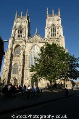 york minster tree pavement diners uk cathedrals worship religion christian british architecture architectural buildings yorkshire england english great britain united kingdom
