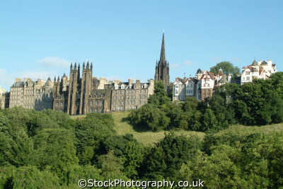 edinburgh old town west princes street gardens uk towns environmental midlothian central scotland scottish scotch scots escocia schottland great britain united kingdom british