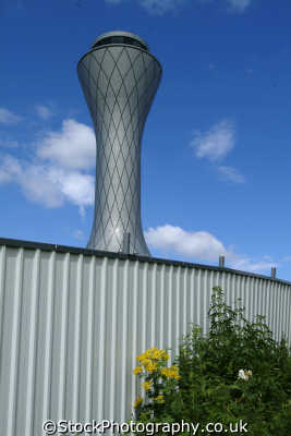 edinburgh futuristic control tower airport uk airports aviation airfield aircraft transport transportation air traffic midlothian central scotland scottish scotch scots escocia schottland great britain united kingdom british