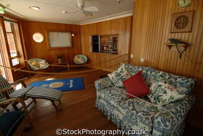 royal yacht britannia teak-lined teak lined teaklined sun lounge shelter deck boats marine misc. ocean terminal leith edinburgh midlothian central scotland scottish scotch scots escocia schottland great britain united kingdom british