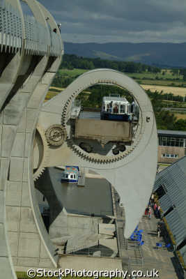 falkirk wheel showing boat lift uk theme parks amusement tourist attractions leisure stirlingshire scotland scottish scotch scots escocia schottland great britain united kingdom british