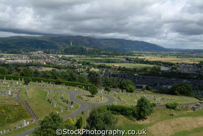 stirling cemetery wallace monument distant countryside rural environmental uk stirlingshire scotland scottish scotch scots escocia schottland great britain united kingdom british