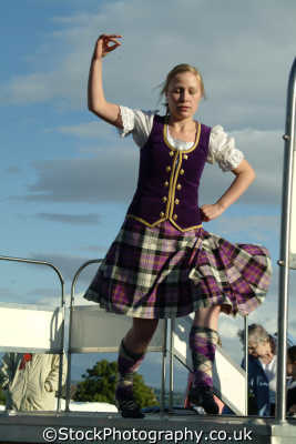 young woman highland dancing human activities people persons tartan kilt stirling stirlingshire scotland scottish scotch scots escocia schottland great britain united kingdom british